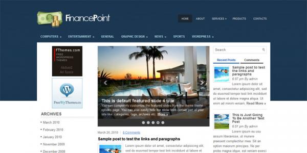 Финансовая новостная тема для wordpress: FinancePoint