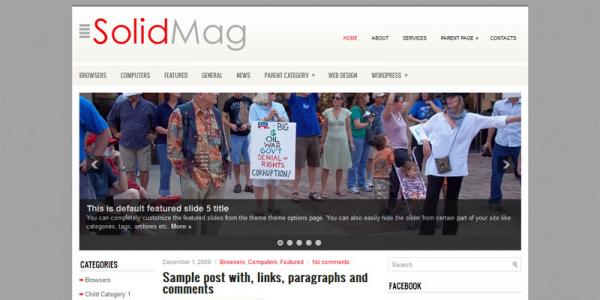Светлый новостной шаблон для WordPress: SolidMag