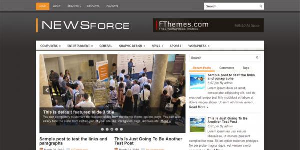 Серая новостная тема для вордпресс: NewsForce