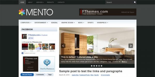 Темная новостная тема для wordpress: Mento