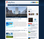 Голубой шаблон wordpress для новостного сайта: MyPen