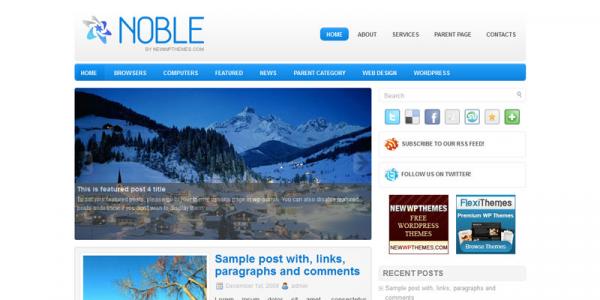 Голубой новостной шаблон wordpress: Noble