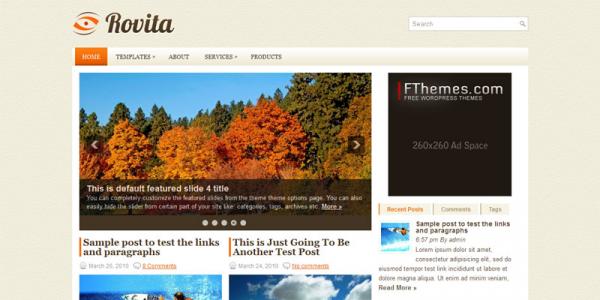 Оранженый шаблон для wordpress: Rovita