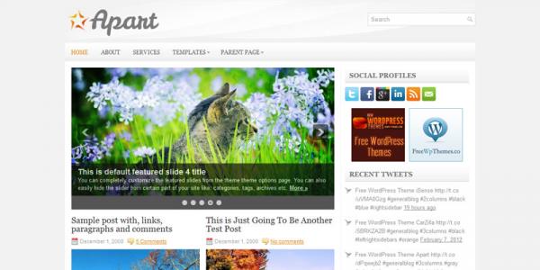 Серый новостной шаблон для wordpress: Apart