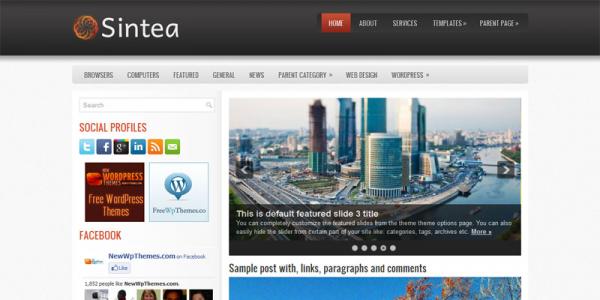 Новостная тема wordpress: Sintea