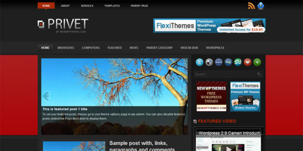 Красно-черная тема wordpress: Privet