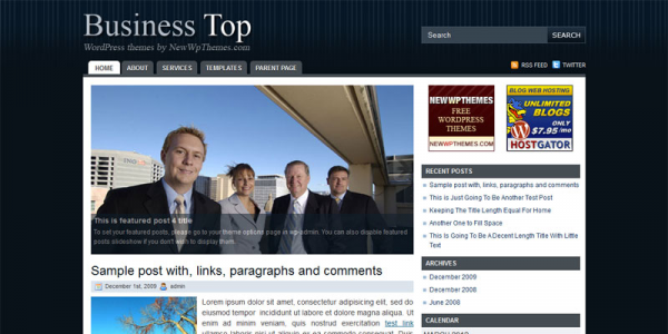 Темная бизнес тема wordpress: Business Top