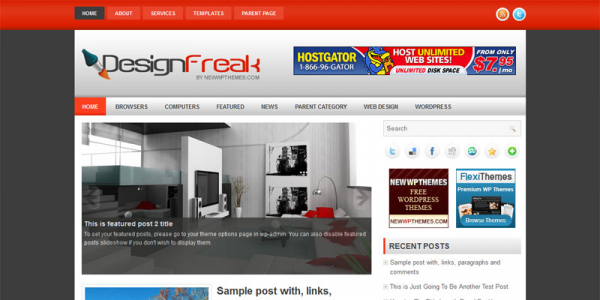 Необычный дизайн в шаблоне wordpress: DesignFreak