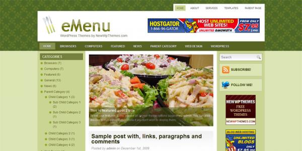 Кулинарная тема wordpress от NewWpThemes: eMenu