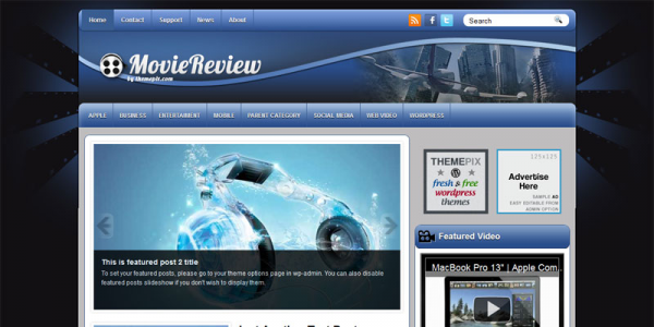 Кино новостная тема wordpress Themepix: MovieReview