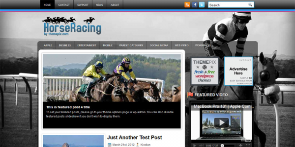 Лошади в шаблоне wordpress: HorseRacing