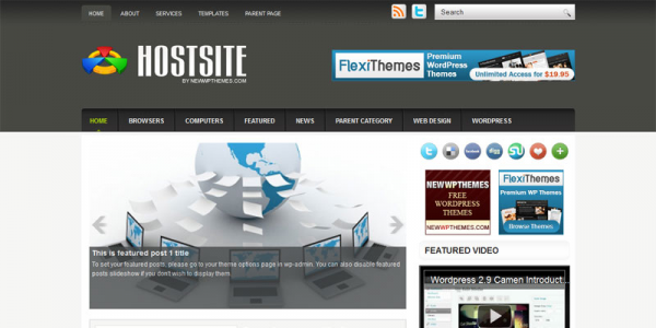Хостинг шаблон для wordpress: HostSite