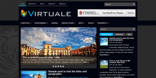 Темная новостная тема wordpress: Virtuale